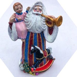 🆕List! Handpainted Santa with Baby & Horse! VTG!